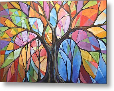 Abstract Original Tree Art Painting ... Colors Of The Wind Metal Print by Amy Giacomelli