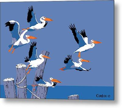 abstract Pelicans seascape tropical pop art nouveau 1980s florida birds large retro painting  Metal Print by Walt Curlee