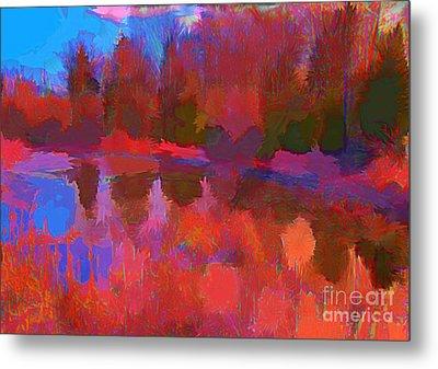 Abstract Pond Metal Print