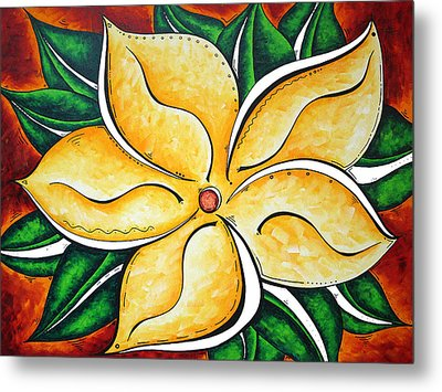 Abstract Pop Art Yellow Plumeria Flower Tropical Passion By Madart Metal Print by Megan Duncanson