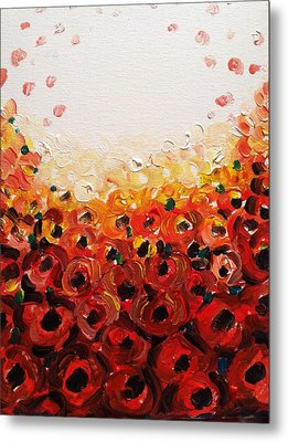 Abstract Poppies 2 Metal Print by Hae Kim