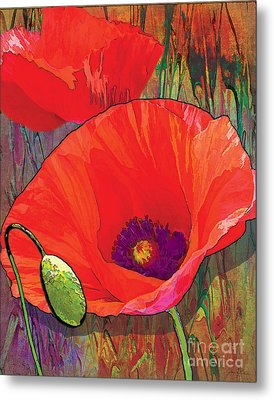 Abstract Poppy B Metal Print by Grace Pullen