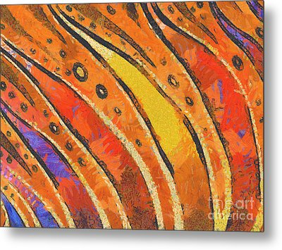 Abstract Rainbow Tiger Stripes Metal Print