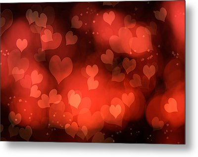 Abstract Red Hearts Metal Print