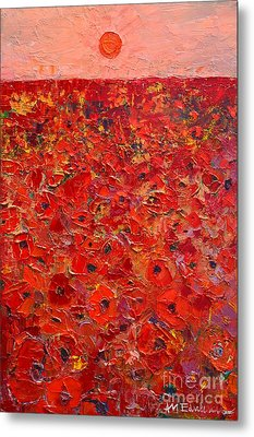 Abstract Red Poppies Field At Sunset Metal Print by Ana Maria Edulescu