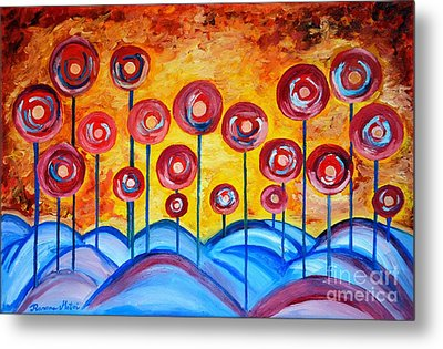 Abstract Red Symphony Metal Print by Ramona Matei