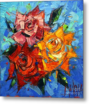 Abstract Roses On Blue Metal Print by Mona Edulesco