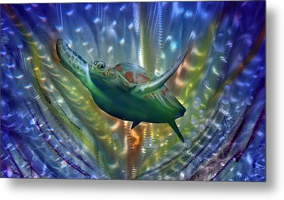 Abstract Sea Turtle 2 Metal Print by Luis  Navarro