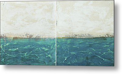 Abstract Seascape 02/14 Diptych Metal Print by Filippo B