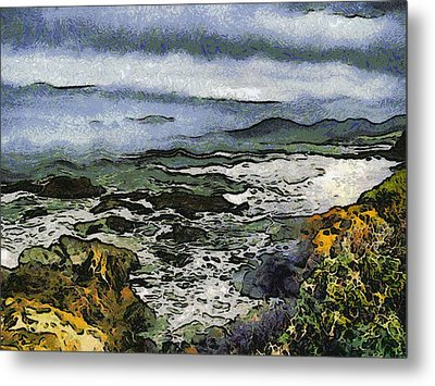 Abstract Seascape Morro Bay California Metal Print by Barbara Snyder