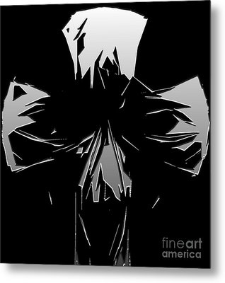 Abstract Skull Or Face Design Gray On Black Metal Print