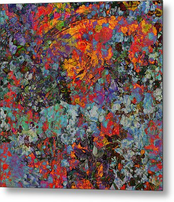 Metal Print featuring the mixed media Abstract Spring by Ally  White