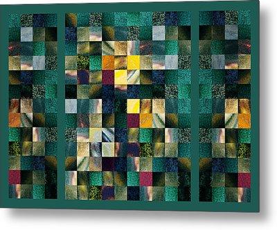 Abstract Squares Triptych Gentle Green Metal Print by Irina Sztukowski