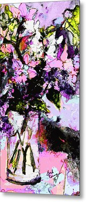 Abstract Still Life In Lavender Metal Print by Ginette Callaway