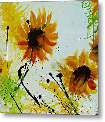 Abstract Sunflowers 2 Metal Print by Ismeta Gruenwald