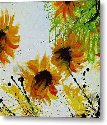 Abstract Sunflowers Metal Print by Ismeta Gruenwald