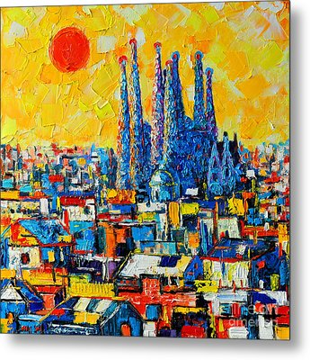 Abstract Sunset Over Sagrada Familia In Barcelona Metal Print by Ana Maria Edulescu