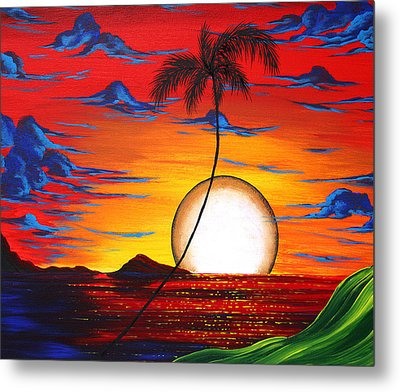 Abstract Surreal Tropical Coastal Art Original Painting Tropical Resonance By Madart Metal Print by Megan Duncanson