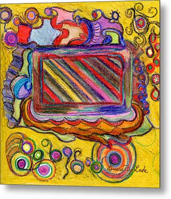 Metal Print featuring the drawing Abstract Television And Shapes by Lenora  De Lude