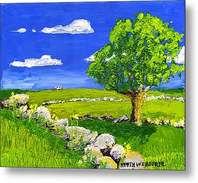Abstract Tree In Maine Blueberry Field Painting. Metal Print by Keith Webber Jr