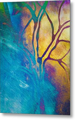 Fire And Ice Abstract Tree Art  Metal Print