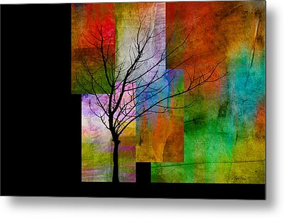 abstract- trees - Color Blocks with Tree Metal Print by Ann Powell