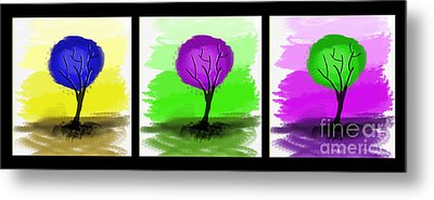 Abstract Trees Tryptich Metal Print