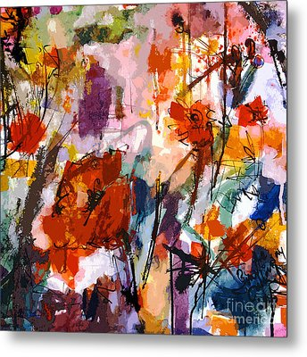 Abstract Tuscan Poppies Square Format Metal Print by Ginette Callaway