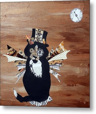 Steampunk Style Cat Art Tuxedo Cat Abstract Cat Painting Metal Print