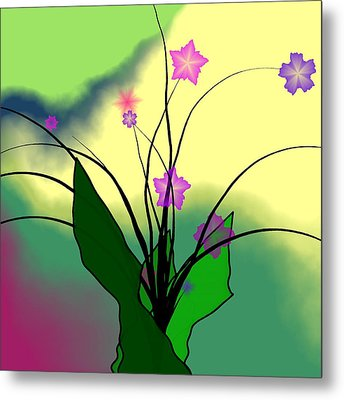 Abstract Violets Metal Print by GuoJun Pan