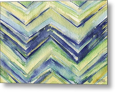Abstract Watercolor Painting - Blue Yellow Green Chevron Pattern Metal Print by Beverly Brown