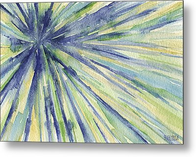 Abstract Watercolor Painting - Blue Yellow Green Starburst Pat Metal Print by Beverly Brown
