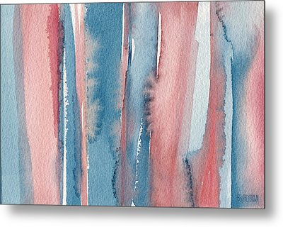 Abstract Watercolor Painting - Coral And Teal Blue Medium Stripes Metal Print by Beverly Brown