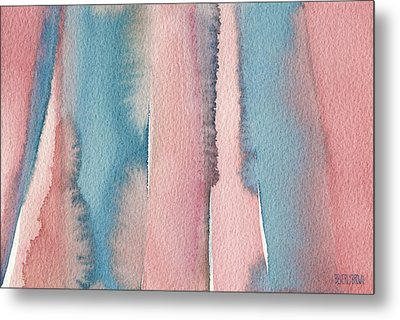 Abstract Watercolor Painting - Coral And Teal Blue Wide Stripes Metal Print by Beverly Brown