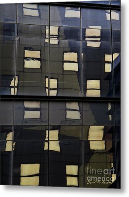 Abstract Window Reflections - Nyc Metal Print by David Gordon