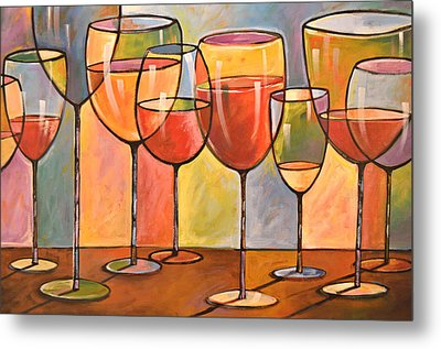 Abstract Wine Art ... Whites And Reds Metal Print by Amy Giacomelli