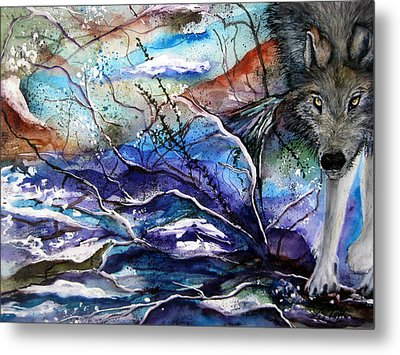 Metal Print featuring the painting Abstract Wolf by Lil Taylor