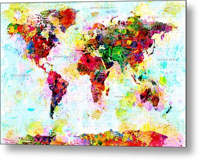 Abstract World Map Metal Print