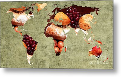 Abstract World Map - Harvest Bounty - Farmers Market Metal Print by Andee Design