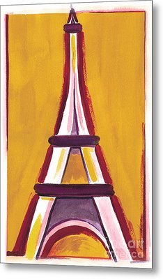 Abstract Yellow Red Eiffel Tower Metal Print