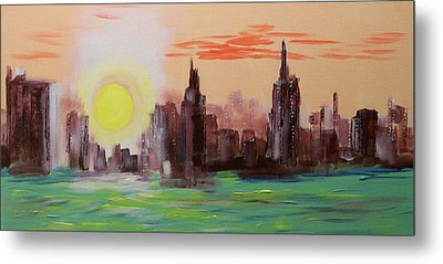 Abstracted Ny Skyline Metal Print by Rich Mason