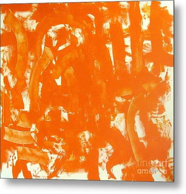 Abstraction In Orange Metal Print by Venus