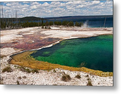 Abyss Pool And Yellowstone Lake Metal Print by Sue Smith