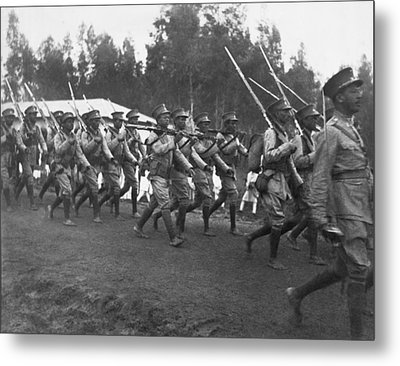 Abyssinian Troops Marching Metal Print by Underwood Archives