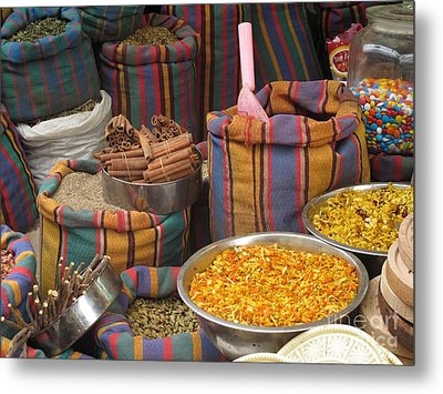 Metal Print featuring the photograph Acco Acre Israel Shuk Market Spices Stripes Bags by Paul Fearn