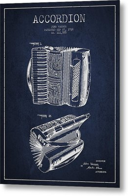 Accordion Patent Drawing From 1938 Metal Print