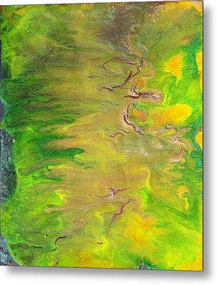 Acid Green Abstract Metal Print by Julia Apostolova