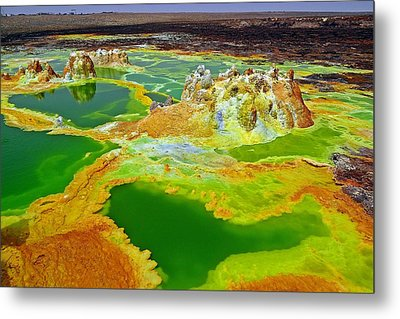 Acid Lakes Of Dallol Volcano Metal Print by Liudmila Di
