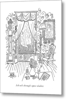 Ack-ack Through Open Window Metal Print by Saul Steinberg