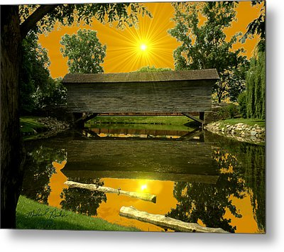 Ackley Covered Bridge Metal Print by Michael Rucker